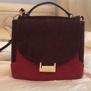 Kate Spade Faux Fur maroon crossbody bag